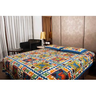 Pure Cotton Multicolor Jaipuri Print Double Bedsheet