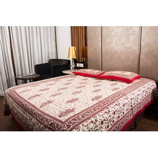 Pure Cotton Multicolor Leaf Print Sanganeri Print Double Bedsheet
