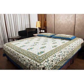 Pure Cotton Multicolor Leaf Design Jaipuri Print Double Bedsheet
