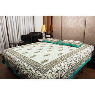 Pure Cotton Multicolor Leaf Design Jaipuri Sanganeri Print Double Bedsheet