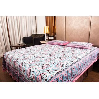 Pure Cotton Multicolor Leaf Design Sanganeri Jaipuri Design Print Double Bedsheet