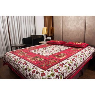 Pure Cotton Multicolor Leaf Design Sanganeri Print Printed Double Bedsheet