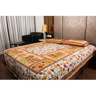 Pure Cotton Multicolor Printed Leaf Design Sanganeri Print Double Bedsheet