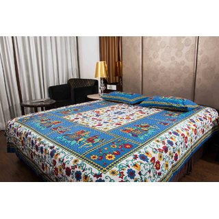 Pure Cotton Multicolor Leaf Design Floral Sanganeri Print Double Bedsheet