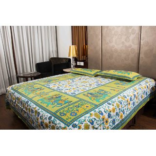 Pure Cotton Multi-Color Colourful Leaf Design Sanganeri Print Double Bedsheet