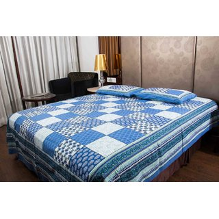 Pure Cotton Multicolor Check Design Printed Sanganeri Print Double Bedsheet
