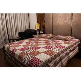 Pure Cotton Multicolor Check Design Jaipuri Print Double Bedsheet