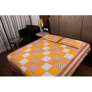Pure Cotton Multicolor Jaipuri Sanganeri Print Double Bedsheet