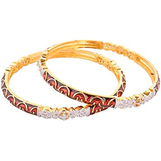 Perfection Golden alloy Metal Bangles for Women (S23/RED)