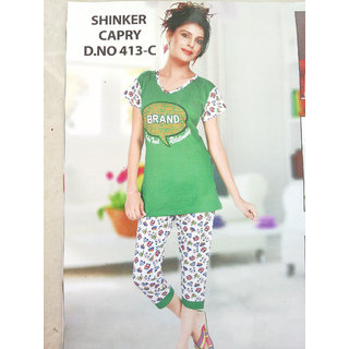 Womens Cotton Green Night Suit
