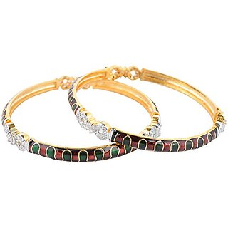 Perfection Golden alloy Metal Bangles for Women (W25/RED-GREEN)
