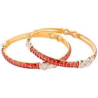 Perfection Golden alloy Metal Bangles for Women (W25/RED)
