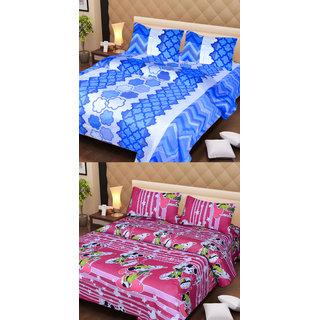 Designer Multi-Colour Cotton Double Bedsheet (BS039)