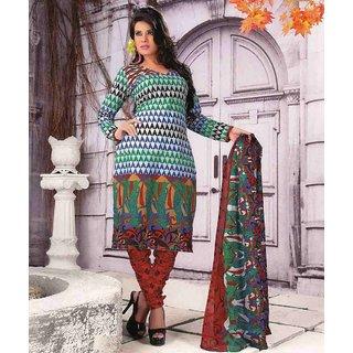 e2a5611da8 Chitra Beautiful Multi Color Unstitched Printed Cotton Dress Material Suit  D. No. 3226