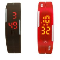 Combo Of Two Band Watches For Men Brown  Red