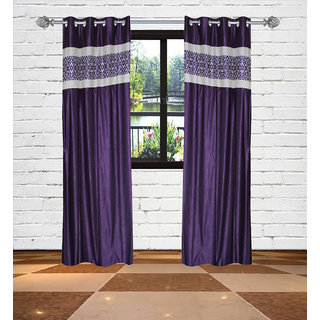 Gaurav Curtains Crush with Panel Purple Polyster Curtains  2pcs