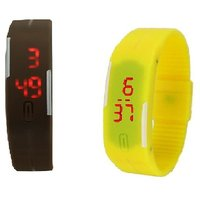 Combo Of Two Band Watches For Men Brown  Yellow