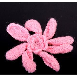5pcs Handmade 8-petal Crochet Flower Sewing Craft - Pink