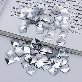 50pcs Square Hotfix Nailheads Silver 7mm