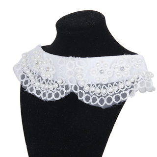 Faux Pearl Crochet Flower White Voile Neckline Collar Charming Sewing Applique