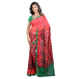 Fabdeal Salmon Colored Weightless Printed Saree