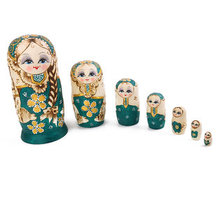 7PCS Painted Wooden Girl with Braided Hair Russian Nesting Dolls