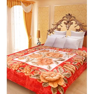 Akash Ganga Floral Double Bed Mink Blanket (BD45)