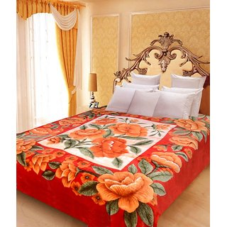Akash Ganga Floral Double Bed Mink Blanket (BD46)
