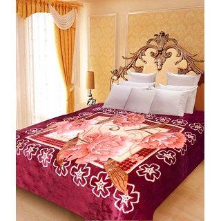 Akash Ganga Floral Double Bed Mink Blanket (BD47)