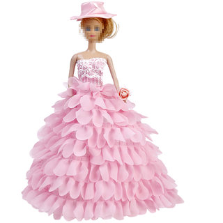 Pink Bridal Wedding Gown Lace Floral Dress with Hat and Flower for Barbie Dolls