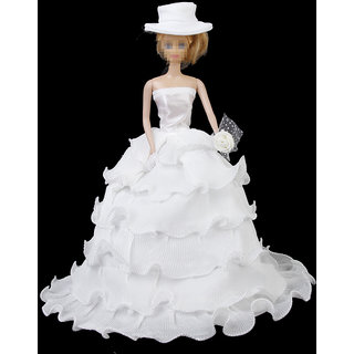 Bridal Wedding Floral White Dress With Hat  Flower for Barbie Doll