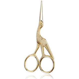 Retro Gold Plated Crane Sewing Tailoring Scissors 11.5cm