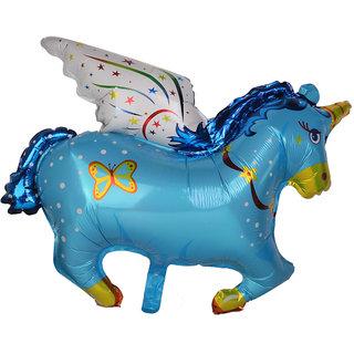 Aluminum Film Horse Pony Balloon for Carnival Birthday Parties Blue