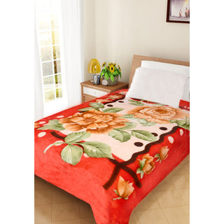 Akash Ganga Floral Single Bed Mink Blanket (BLS01)