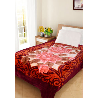 Akash Ganga Floral single Bed Mink Blanket (BLS03)