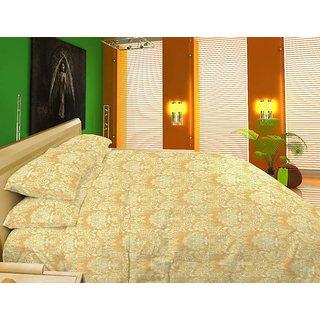 Stoa Paris Beige Jacquard 5pc 300TC Bedsheet Set & Duvet Cover (7006JB)