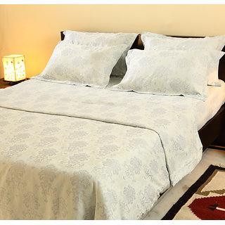 Stoa Paris White Jacquard 5pc King Bedsheet Set (7023WH)