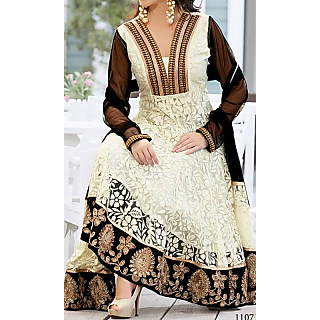 Anarkali Of White And Black Designer Suit