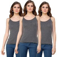 Renka Comfortable Grey Color Camisole/Tank Tops for Women(Pack of 3) S2-Grey-c3