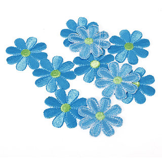 10pcs Embroidered Applique Flower Patch - Blue