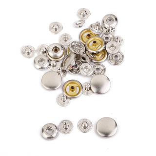 10 Sets Copper Snaps Fasteners Silver Tone