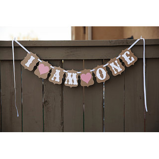I AM ONE Bunting Banner Baby Shower Birthday Party Decoration Photo Prop
