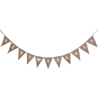 BABY SHOWER Hessian Bunting Banner Pennant Rustic Wedding Decor 11 Flags
