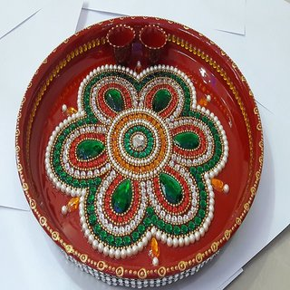 Exclusive kundan decorated handmade pooja thali big buy for Aarti thali decoration with kundan