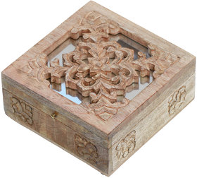 Woodsmith Carved Wooden Jewelry Box With A Decorative Mirror On The Lid