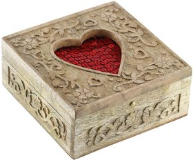 Woodsmith Wooden Jewelry Box With Shiny Decorative Sequins On Deep Red Fabric