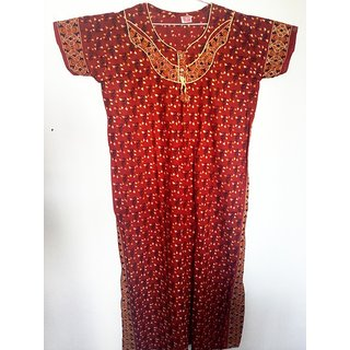 Fancy Cotton Nighty/Gown - Red-Full Length-54 inches