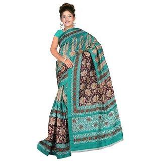 VNJ FASHION Sea Green Bhagalpuri Silk Saree With Unstitched Blouse VNJ00042