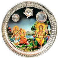 E-handicrafts Stainless Steel Lord Ganesh Pictograph Thali 12 Inch