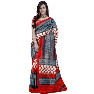 Prafful Red & Grey Silk Printed Saree With Blouse